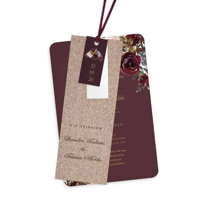 Hochzeitseinladung als Kartenset mit Rosen in Burgunder