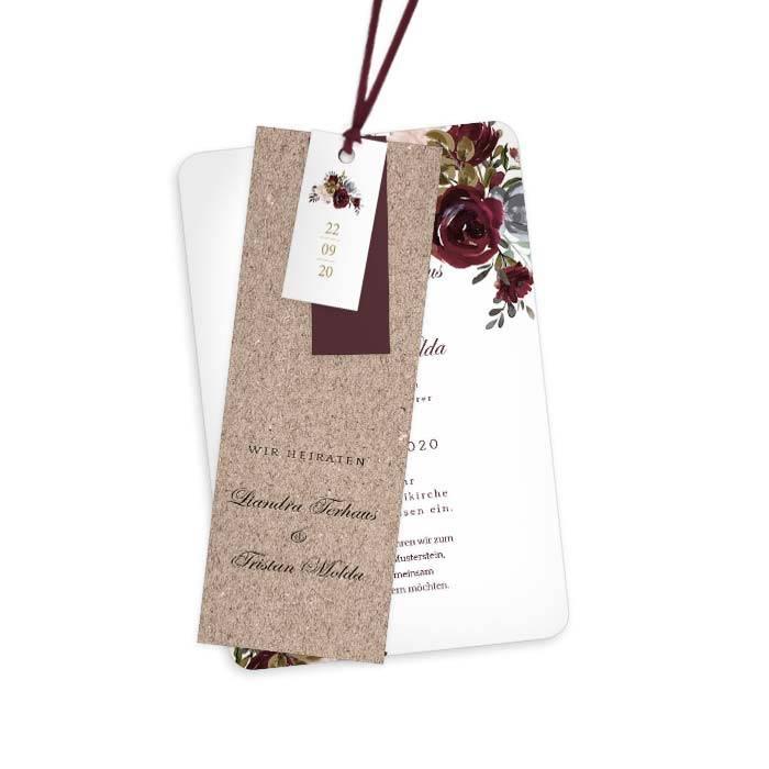 Rustikale Hochzeitseinladung mit Aquarell Rosen in Burgunder