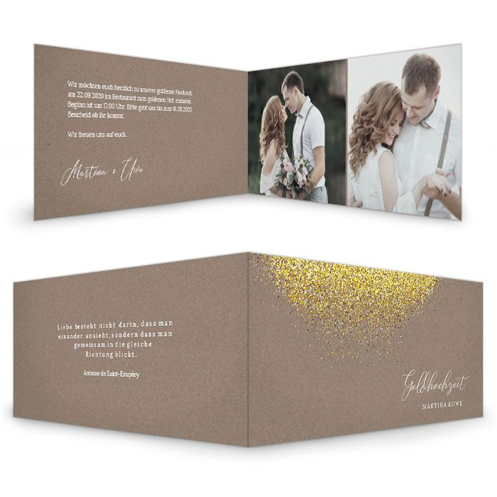 Rustikale Einladung zur Goldhochzeit im Naturpapierlook