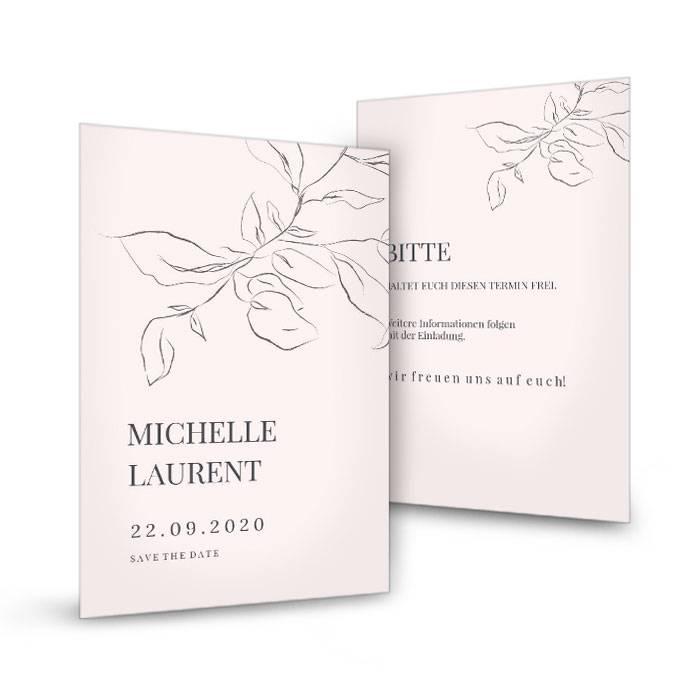 Save the Date Karte im Fineartstil mit Zweig in Rosa