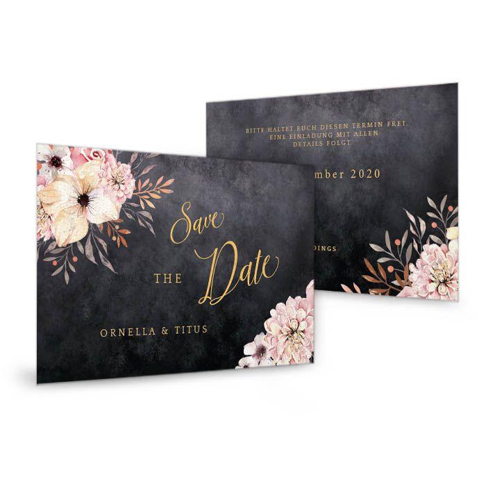 Elegante Save the Date Karte in Schieferoptik mit Blumen