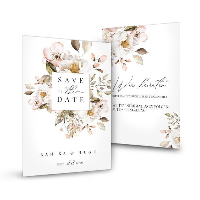 Save the Date mit romantischen Aquarellblumen - Weiss