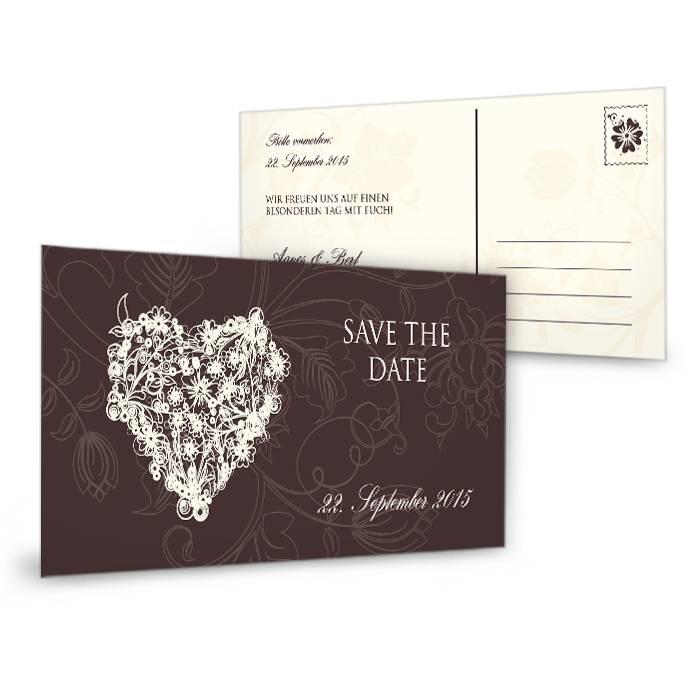 Romantische Save the Date Karte in Braun mit floralem Herz