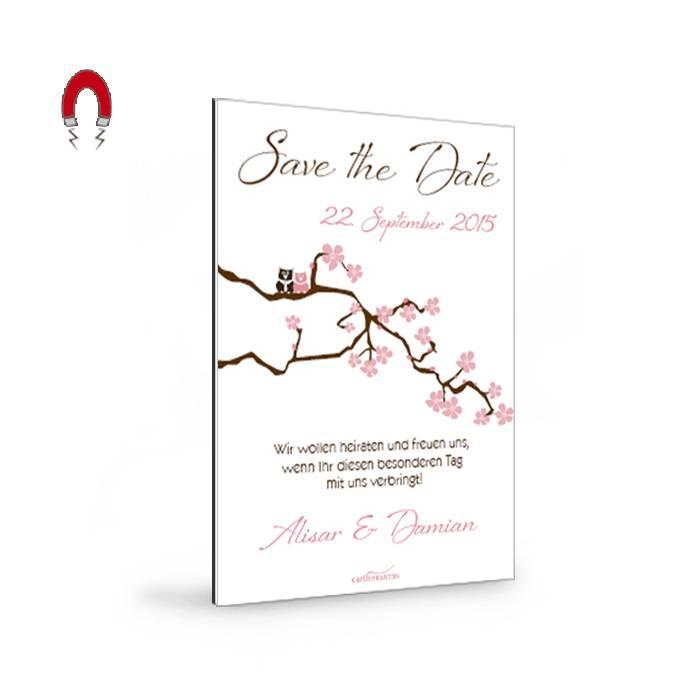 Magnetische Save the Date Karte mit Kirschblüten und Eulen