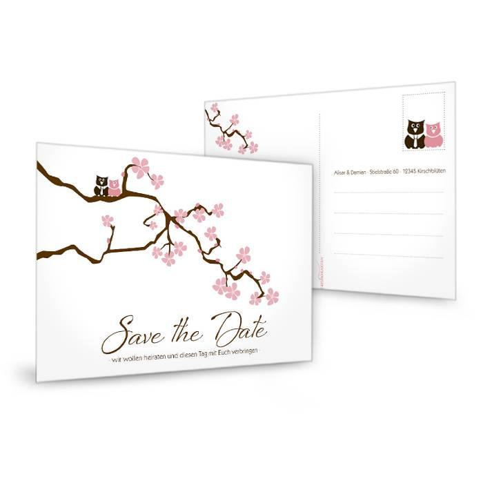 Süße Save the Date Karte mit Kirschblütenzweig und Eulen