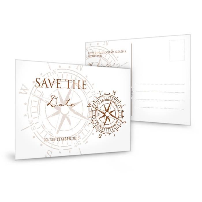 Maritime Save the Date Karte mit antikem Kompass in Braun