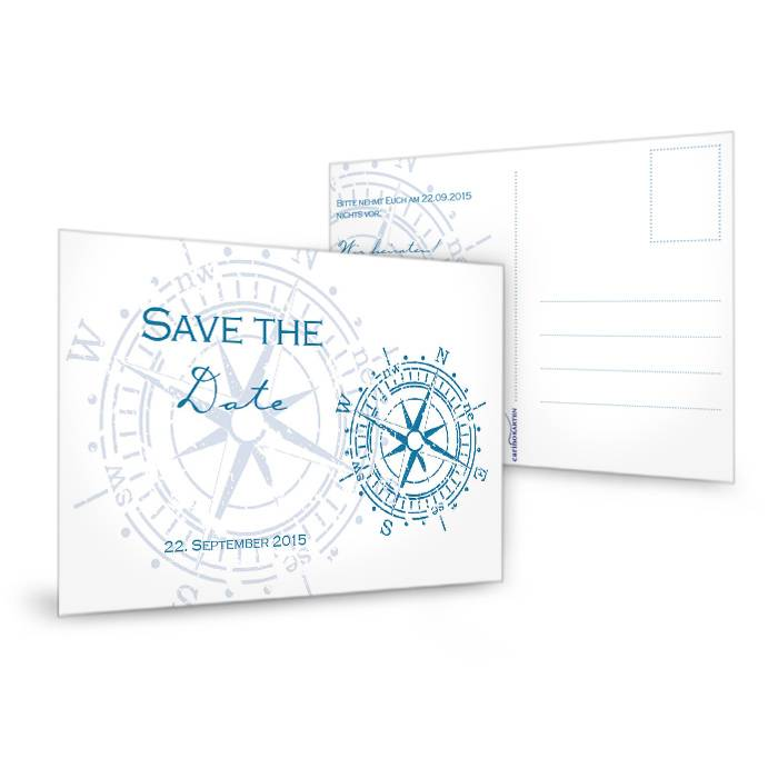 Maritime Save the Date Karte mit antikem Kompass in Blau