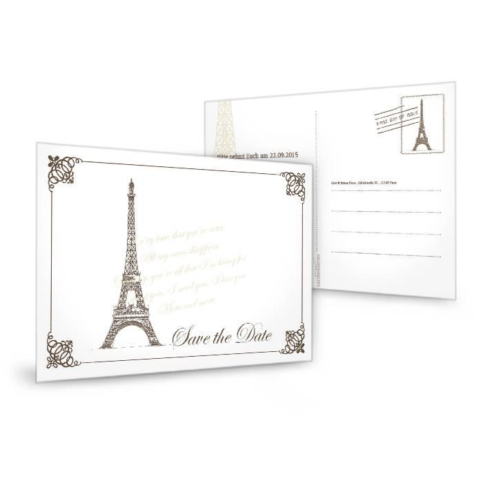 Save the Date Karte mit Eiffelturm Motiv und Paris Flair