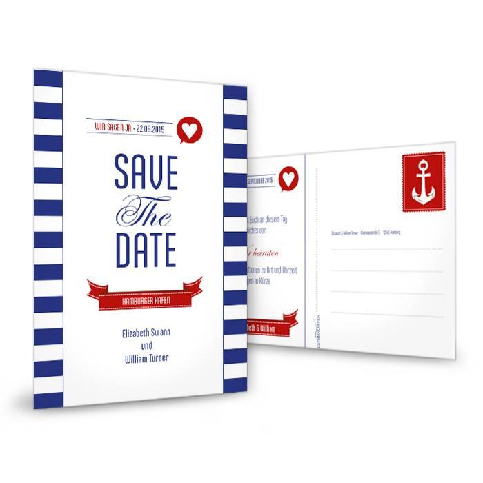 Save the Date Karte zur maritimen Hochzeit im Streifendesign