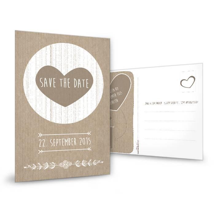 Vintage Save the Date Karte mit Herz in Packpapier-Optik