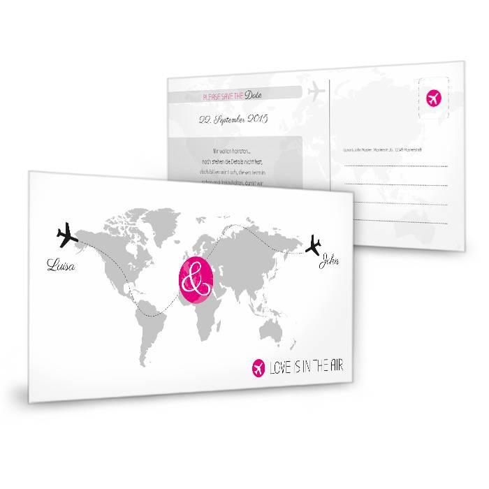 Moderne Save the Date Karte mit Flugzeug Motiv in Pink