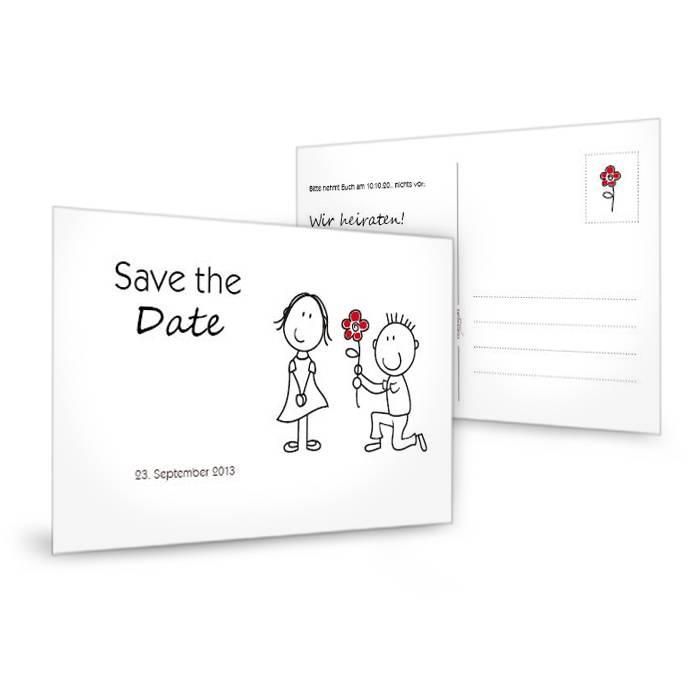 Save the Date Karte zur Hochzeit mit Karikatur Braupaar