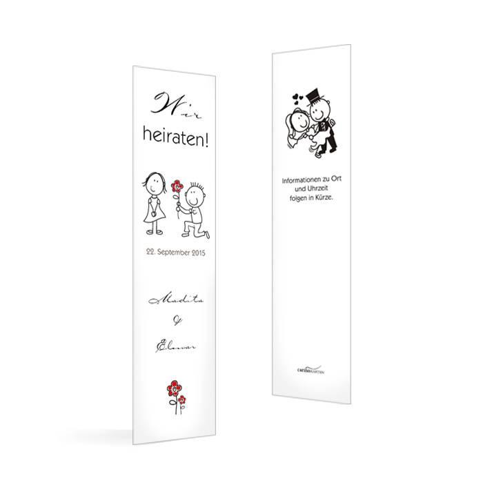 Save the Date Karte als Lesezeichen mit Karikatur Braupaar