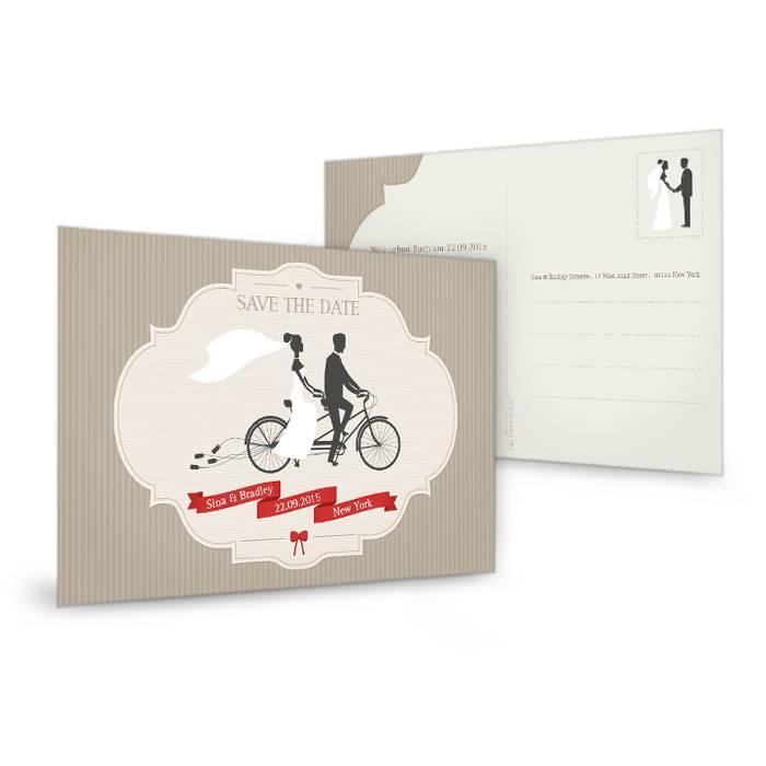 Save the Date Karte zur Hochzeit mit Retro Tandem Motiv