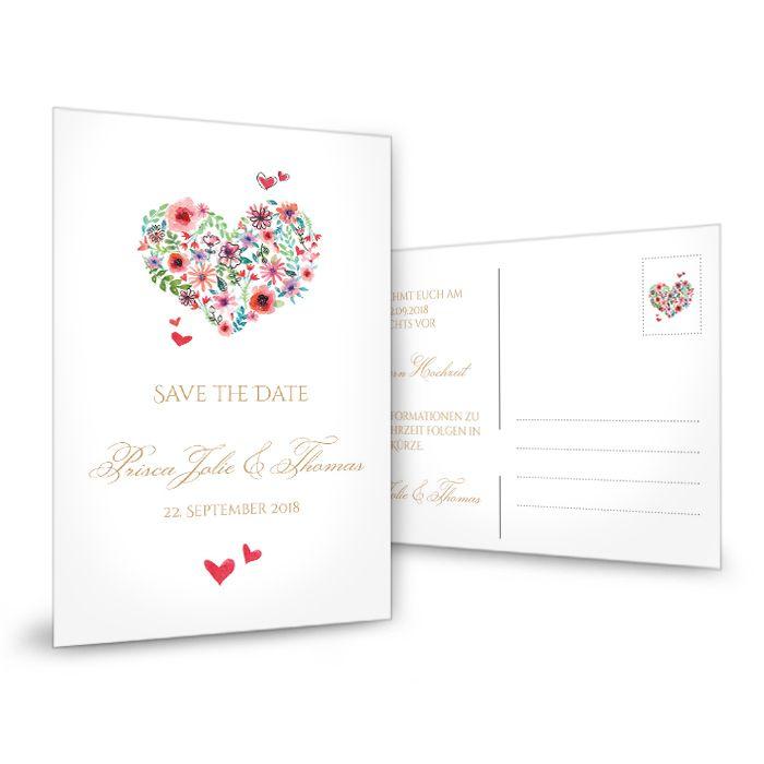 Romantische Save the Date Karte mit Herz aus bunten Blüten