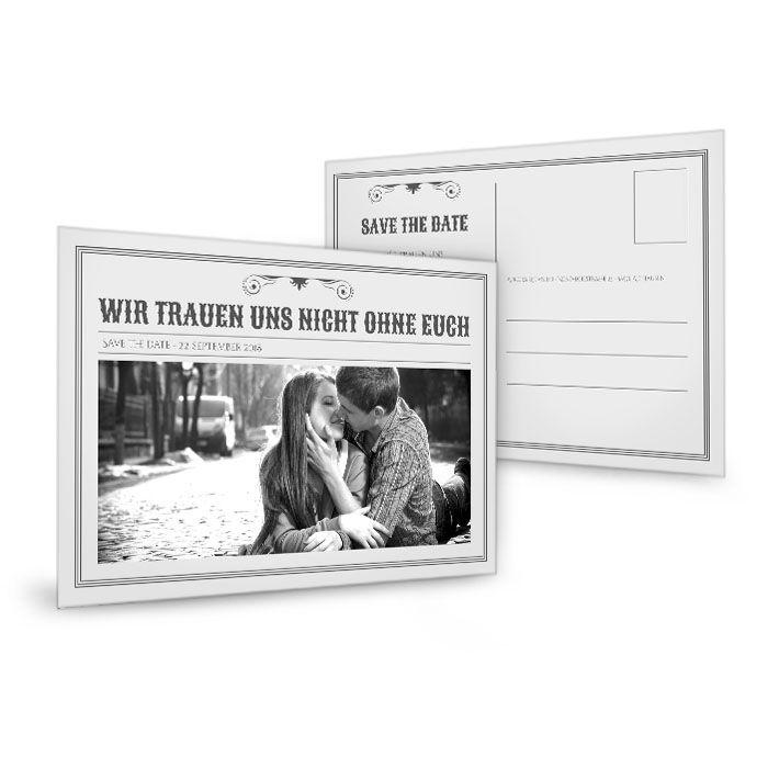 Save the Date Karte zur Hochzeit im Zeitungsstil in Grau
