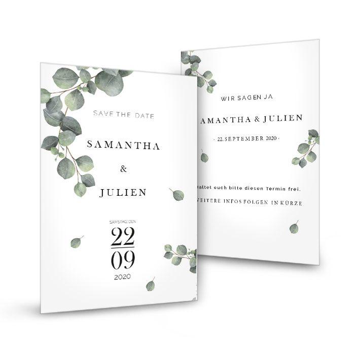 Save the Date greenery Karte mit Eukalyptuszweig - Samantha