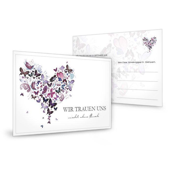 Save the Date Karte zur Hochzeit mit lila Schmetterlingsherz