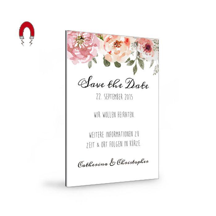 Romantische Save the Date als Magnet mit Aquarellblumen