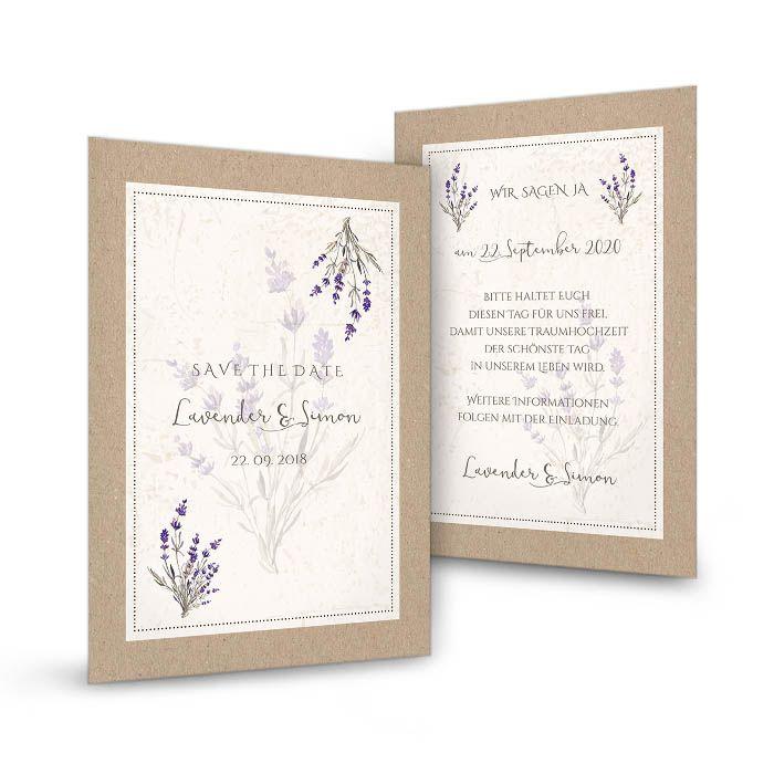 Save-the-Date-Karte im Kraftpapierlook mit Lavendel