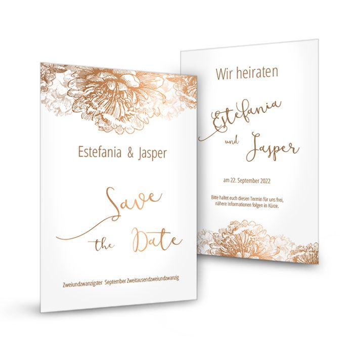 Save the Date Karte in Weiß mit Blumen in Kupfer
