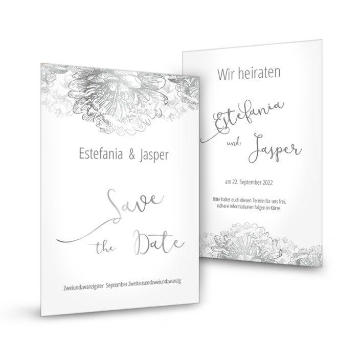 Save the Date Karte in Weiß mit Blumen in Silber