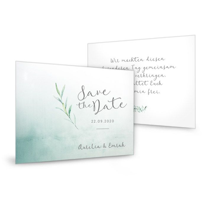 Save-the-Date Karten im Greenery Stil mit Watercolor Zweigen