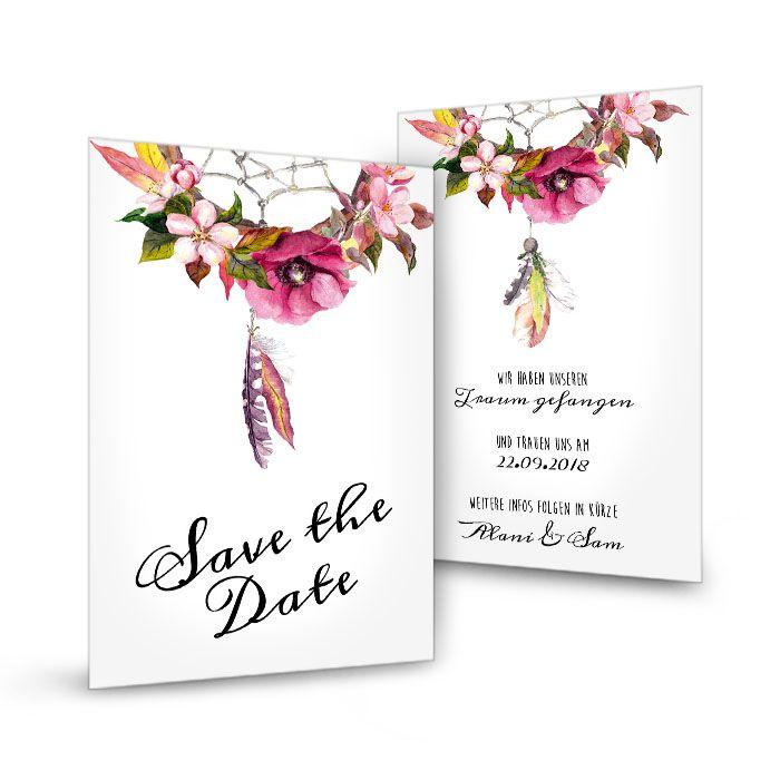 Save the Date Karte im Boho Stil mit Traumfänger und Blüten