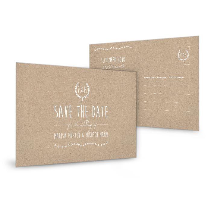 Save the Date Karte im natürlichen Kraftpapierstil