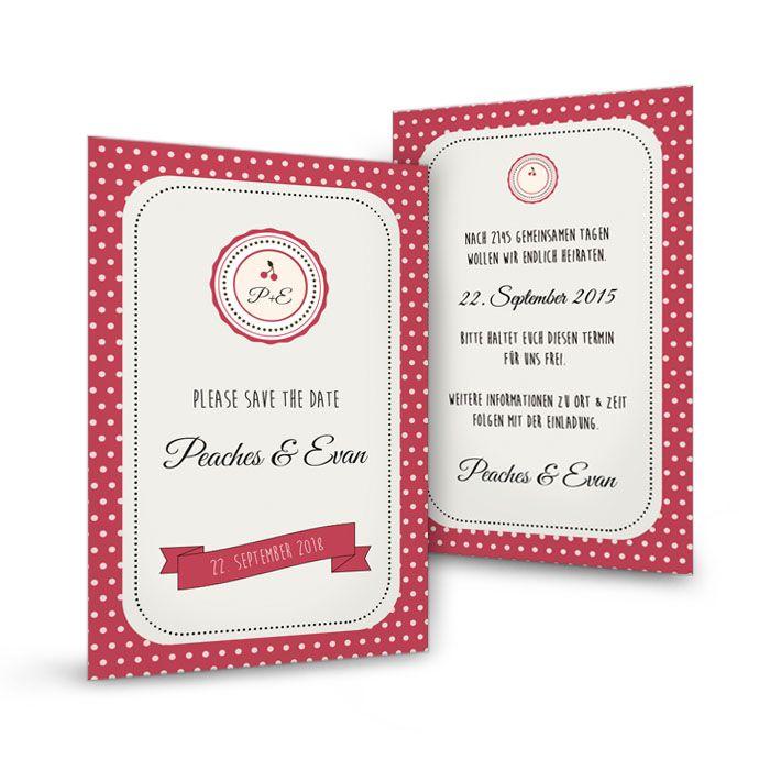 Save the Date Karte zur Rockabilly Hochzeit in Rot mit Punkten