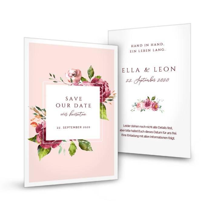 Save-the-Date Karte mit Aquarell Blumen mit Rahmen in Rosa