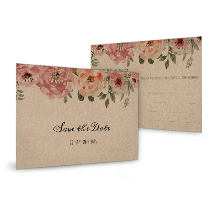 Save-the-Date-Karte in Kraftpapieroptik mit Aquarellblumen