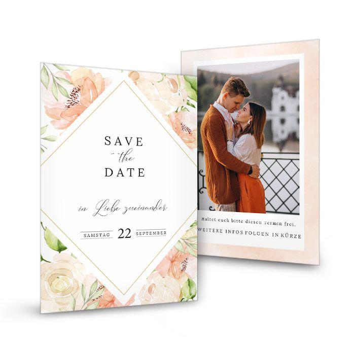 Save the Date Karte zur Hochzeit mit Aquarellrosen in Blush