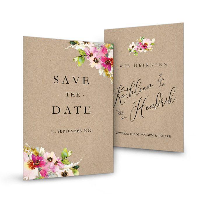 Save the Date Karte mit bunten Blumen und Kraftpapieroptik