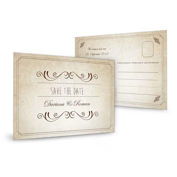 Save the Date Karte zur Hochzeit im Shabby Chic Stil