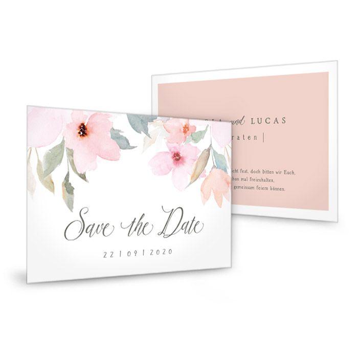 Romantische Vintage Save-the-Date Karte mit Blüten in Rosa