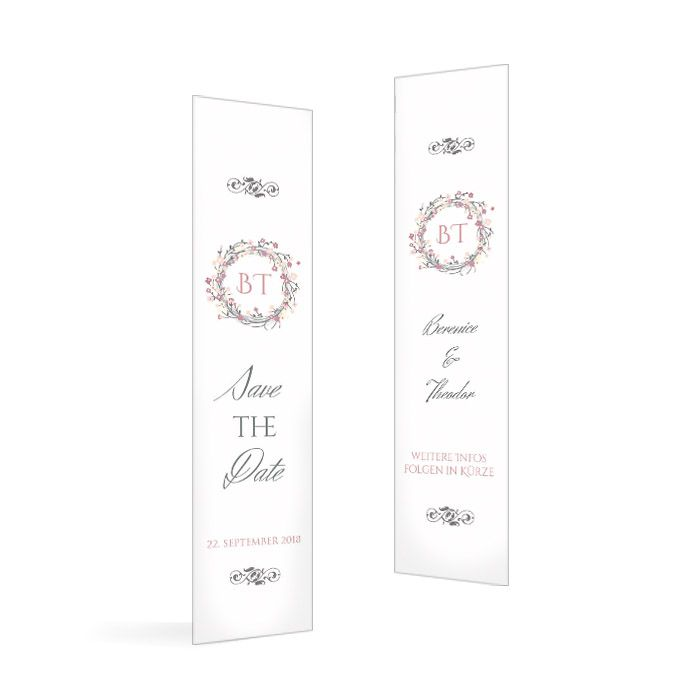 Save-the-Date-Karte als Lesezeichen mit rosa Blumenkranz