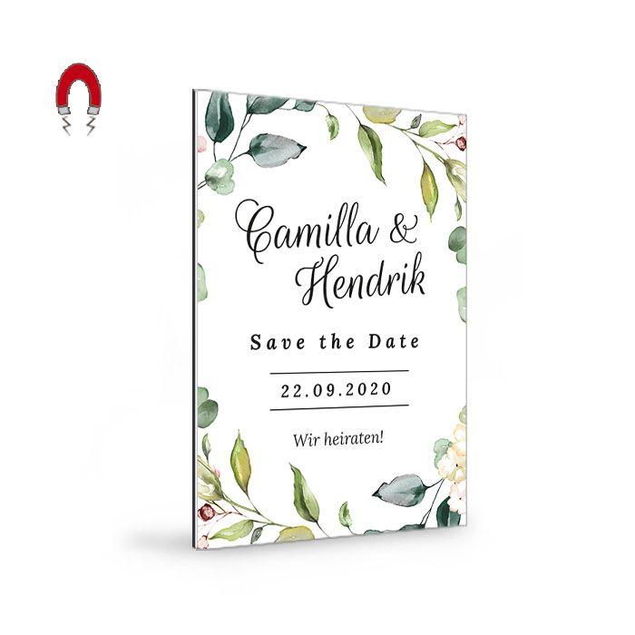 Romantische Save-the-Date Karte als Magnet im Greenery Stil