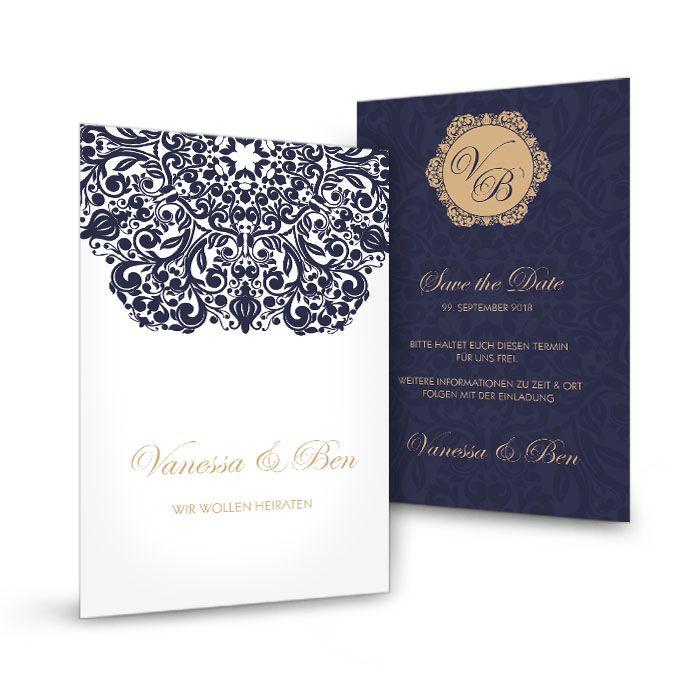Save the Date Karte mit barockem Ornament in Blau und Weiß