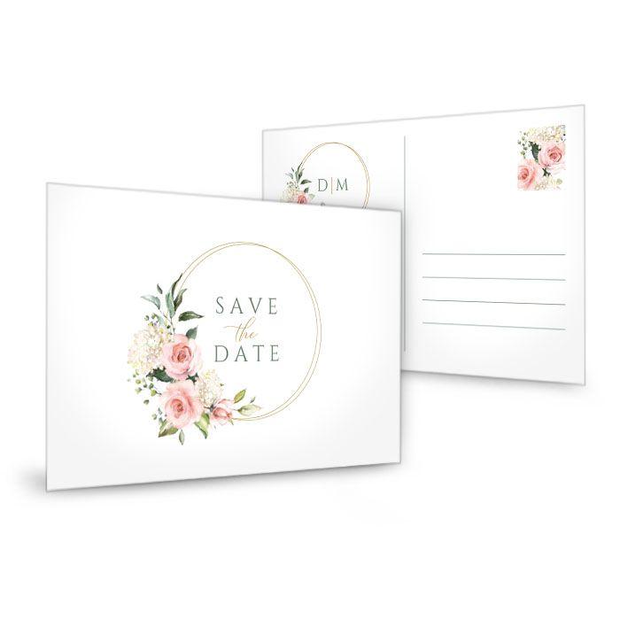 Save-the-Date Postkarte mit Goldreif, Rosen und Hortensien