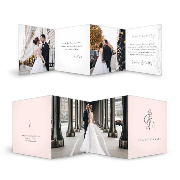 Schlicht elegante Hochzeitsdanksagung mit Initialen in rose