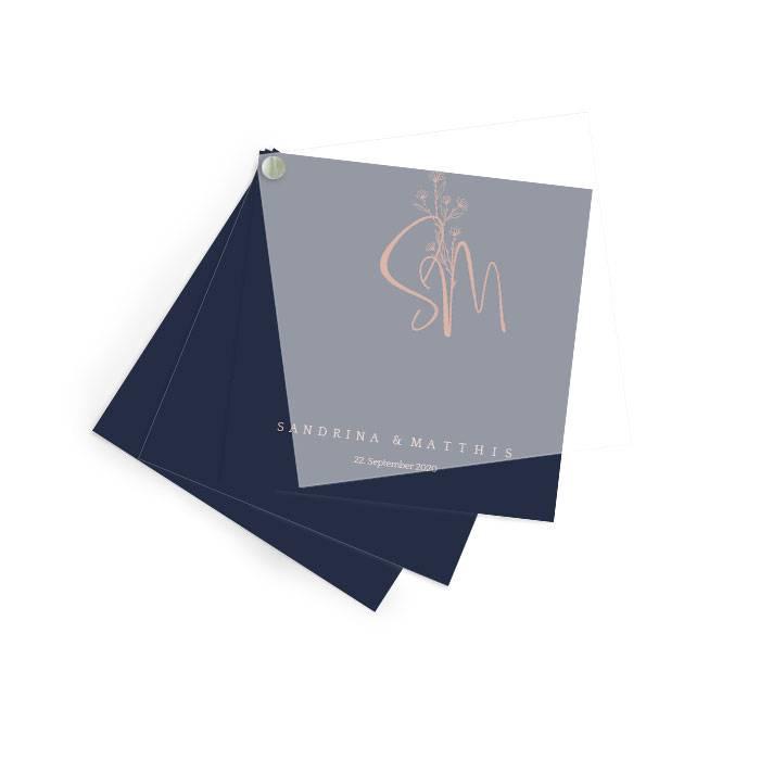 Schlichte Hochzeitseinladung mit Transparentpapier in Blau