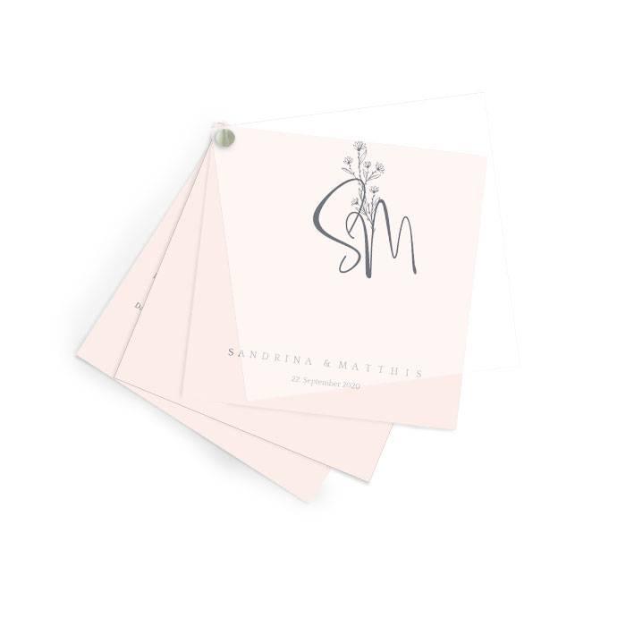 Schlichte Hochzeitseinladung mit Transparentpapier in rosa