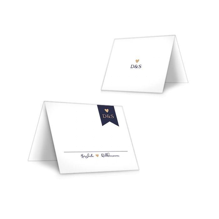 Schlichte Tischkarte zur Hochzeit in Weiß und Blau