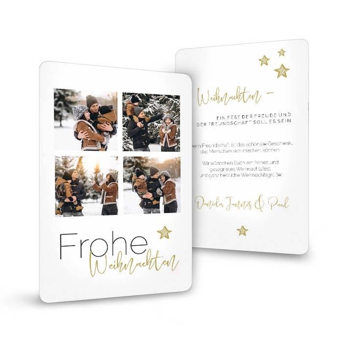 Schlichte Weihnachtskarte mit vielen Fotos und Stern - Sternenschön