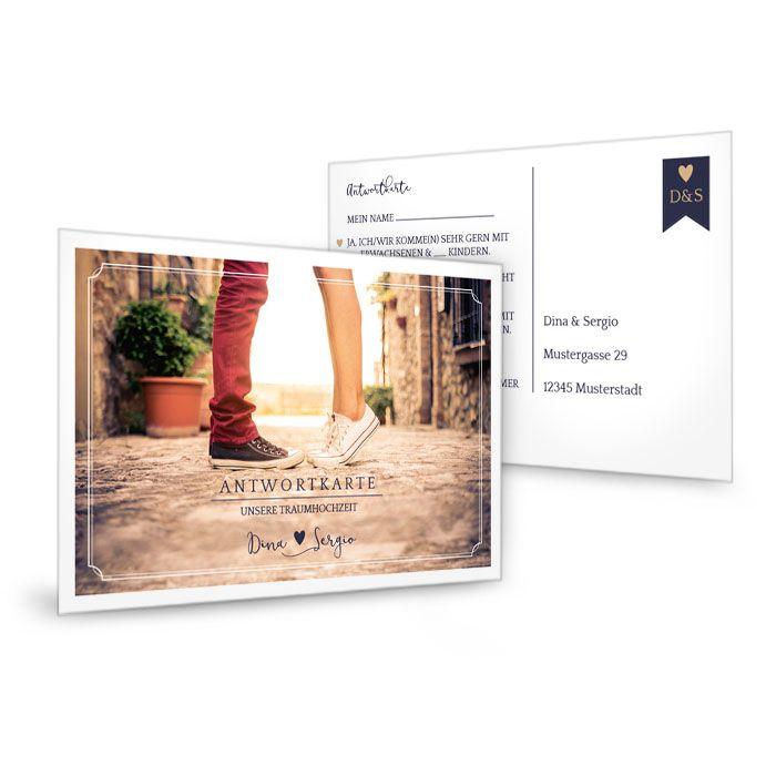 Antwortkarte zur modernen Hochzeitseinladung mit Foto
