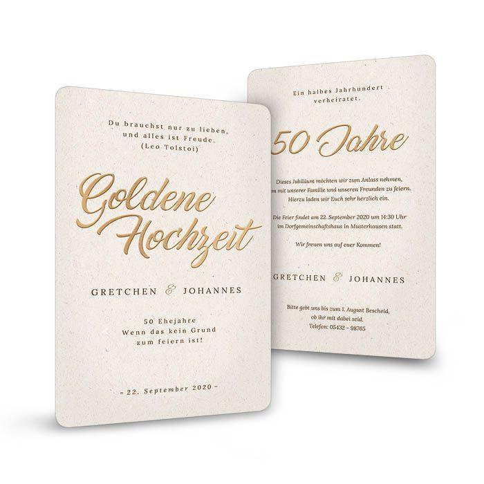 Schlichte Einladung zur Goldhochzeit auf heller Naturpapieroptik
