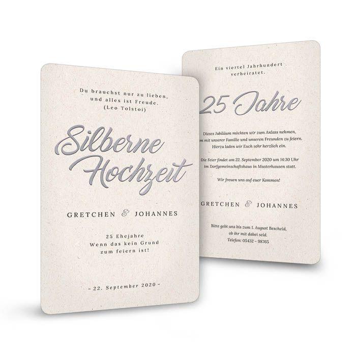 Schlichte Einladung zur Silberhochzeit auf heller Naturpapieroptik