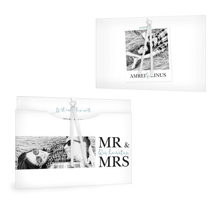 Moderne Hochzeitseinladung als Einsteckkarte mit großen Fotos