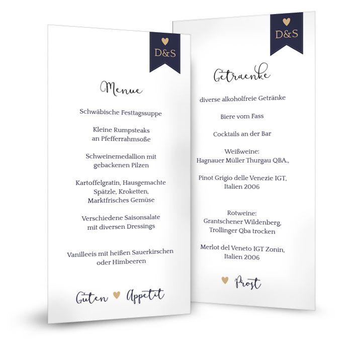 Schlichte Menükarte zur Hochzeit in Weiß Blau mit Monogramm
